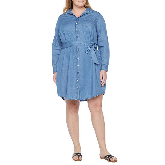 St. John's Bay-Plus Long Sleeve Shirt Dress