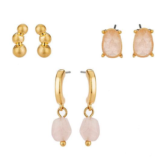 a.n.a Inspirational Jewelry Semi Precious 3 Pair Earring Set