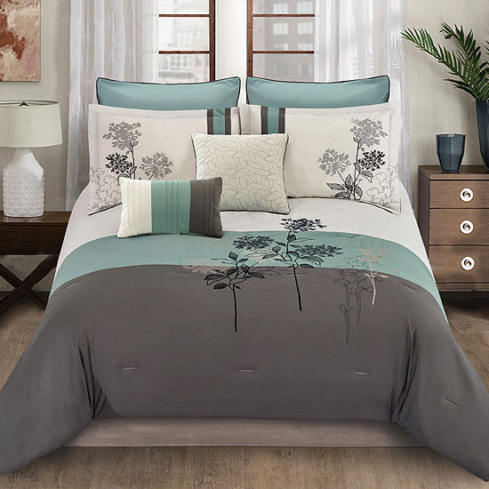 Riverbrook Home Emile 8-pc. Midweight Embroidered Comforter Set