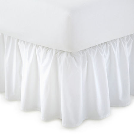 JCPenney Home Ruffled Bedskirt, One Size , White