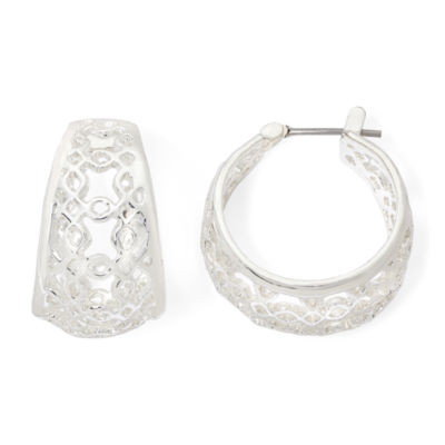 Liz Claiborne® Silver-Tone Openwork Hoop Earrings