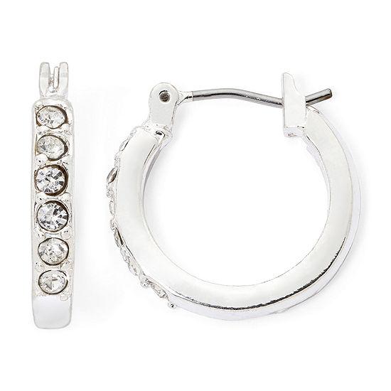 Liz Claiborne® Silver-Tone Crystal Small Hoop Earrings