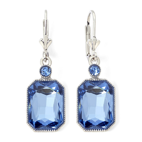Monet® Silver-Tone Blue Stone Drop Earrings