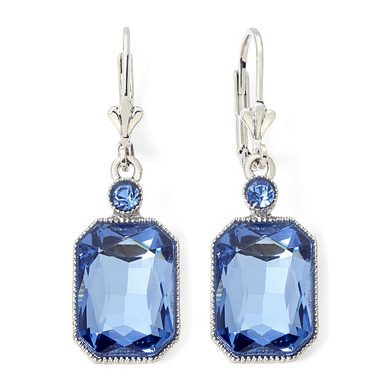 Monet Silver Tone Blue Stone Drop Earrings