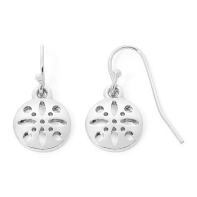 Liz Claiborne® Silver-Tone Round Drop Earrings