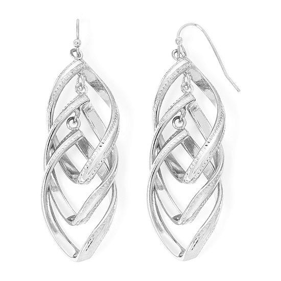 Liz Claiborne® Silver-Tone Twisted Orbital Drop Earrings
