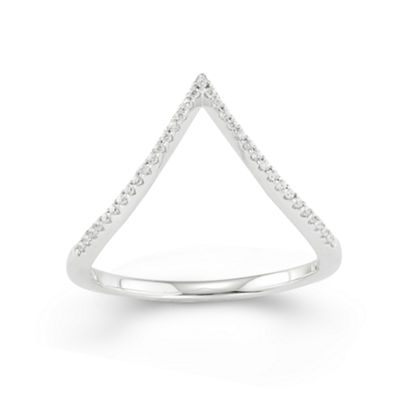 1/10 CT. T.W. Diamond 10K White Gold Midi Ring