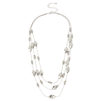 Bold Elements 3 Row Silver Illusion Bead Necklace