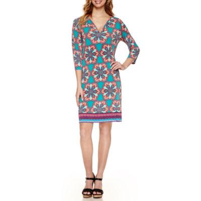 Nicole By Nicole Miller 3/4 Sleeve Geo Linear Shift Dress