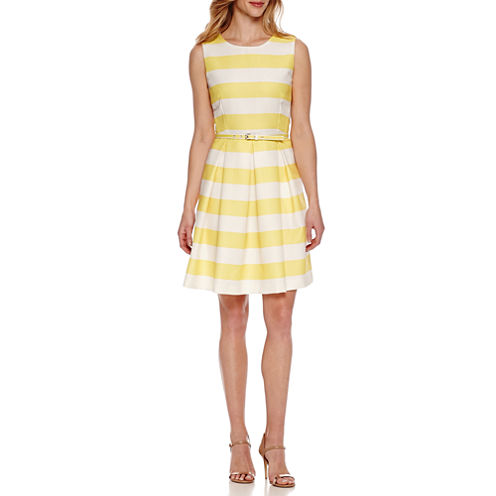R & K Originals Sleeveless Stripe Fit & Flare Dress