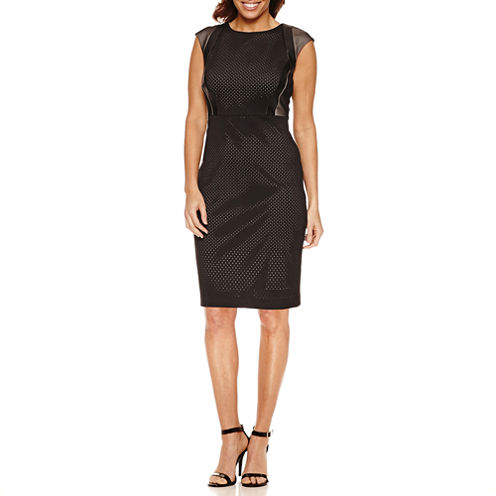 Melrose Sleeveless Mesh Shoulder Sheath Dress-Petites