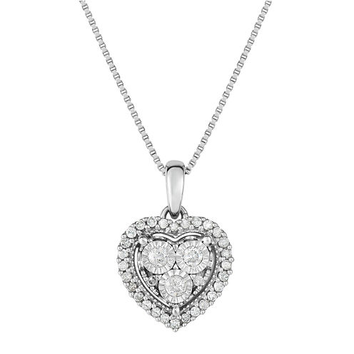 Trumiracle True Miracle Womens 1/4 CT. T.W. White Diamond Sterling Silver Pendant Necklace
