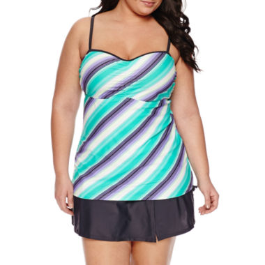 jcpenney.com | Free Country® Stripe Bandeau Swimsuit Top or Swim Skirt-Plus
