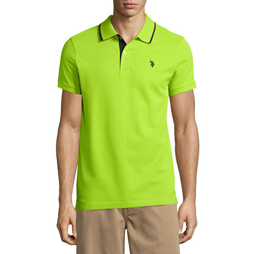 US Polo Assn Slim Fit Short Sleeve Solid Pique Polo Shirt - Us assn polo map
