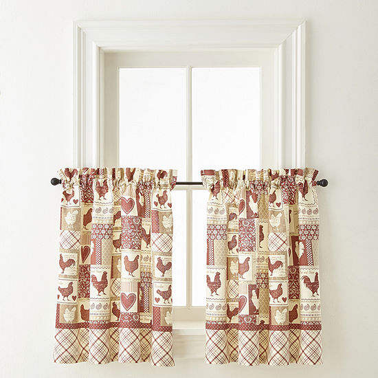 Home Expressions Rooster Round Up Rod-Pocket Window Tiers