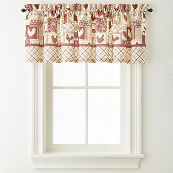 Home Expressions Rooster Round Up Rod Pocket Tailored Valance Jcpenney Color Red Multi