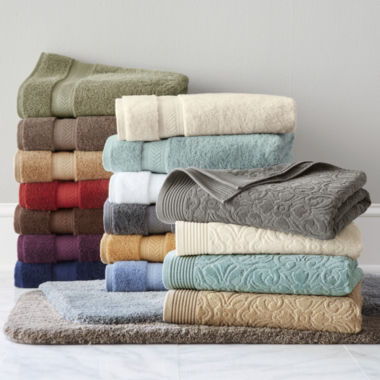 jcpenney.com | Royal Velvet® Sculpted & Luxury Egyptian Cotton Loops Bath Towel & Rug Collection