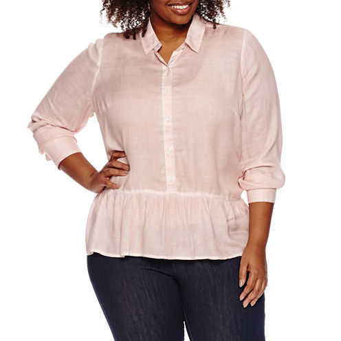 a.n.a 3/4 Sleeve Rayon Blouse-Plus