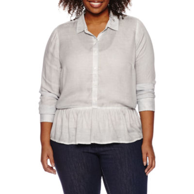 a.n.a Womens 3/4 Sleeve Rayon Blouse-Plus