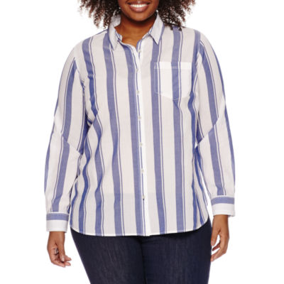 a.n.a Long Sleeve Stripe Button-Front Shirt-Plus