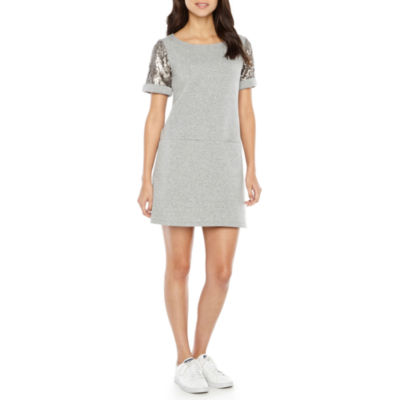 Ronni Nicole Sequin Short Sleeve Shift Dress