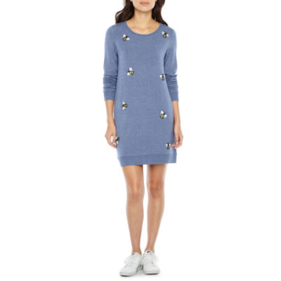 Ronni Nicole Long Sleeve Bumble Bee Applique Shift Dress