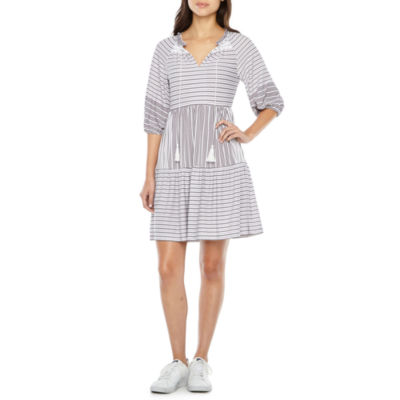 Vivi By Violet Weekend 3/4 Sleeve Stripe Fit & Flare Dress