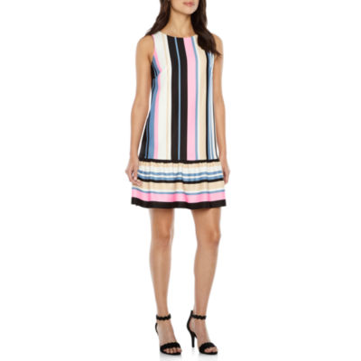 Nicole By Nicole Miller Sleeveless Stripe Shift Dress