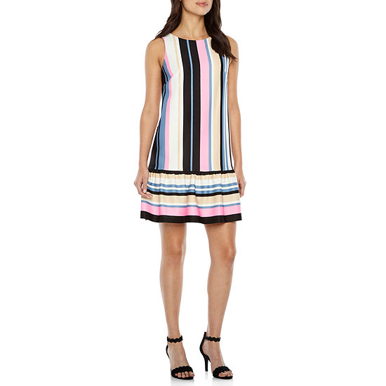 Nicole By Nicole Miller Sleeveless Striped Shift Dress