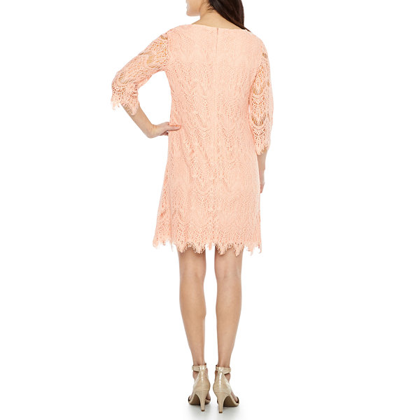 Ronni Nicole 3/4 Sleeve Lace Shift Dress