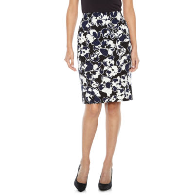 Black Label by Evan-Picone Floral Suit Skirt