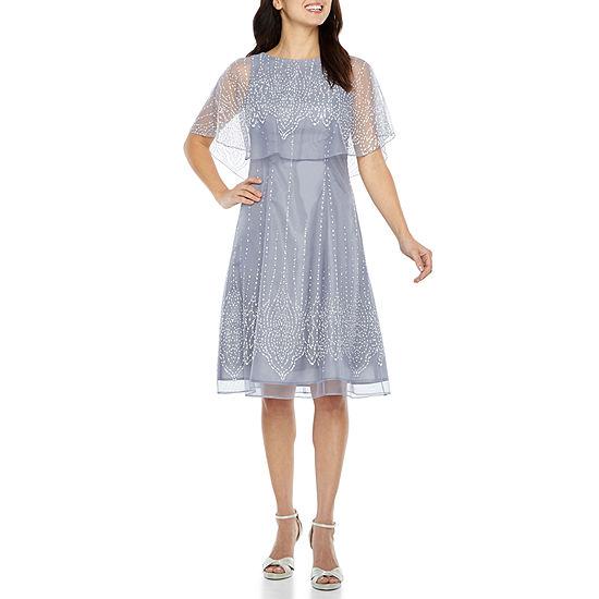 J Taylor 3/4 Sleeve Embellished A-Line Dress