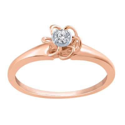 Promise My Love Womens Diamond Accent Genuine White Diamond 10K Rose Gold Over Silver Promise Ring