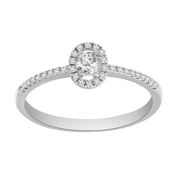 Promise My Love Womens 1/4 CT. T.W. Genuine Round White Diamond Sterling Silver Promise Ring