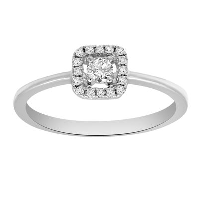 Promise My Love Womens 1/5 CT. T.W. Round White Diamond Sterling Silver Promise Ring
