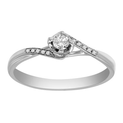 Promise My Love Womens 1/6 CT. T.W. Genuine White Diamond Sterling Silver Promise Ring