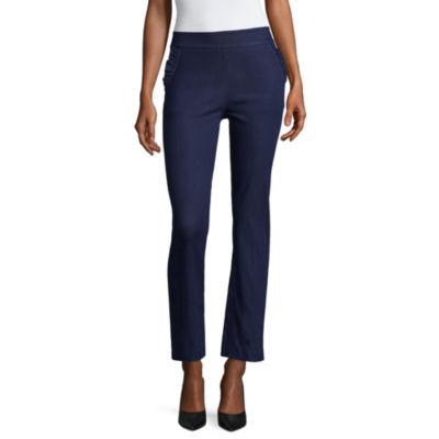 Liz Claiborne Slim Fit Ruffle Pocket Ankle Pants