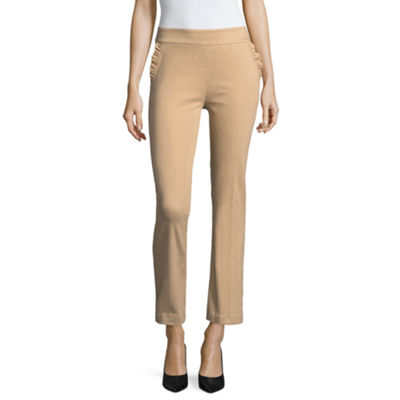 Liz Claiborne Slim Fit Ruffle Pocket Ankle Pants