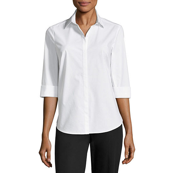 ade4d4c1e6b Liz Claiborne 3/4 Sleeve Button Front Shirt