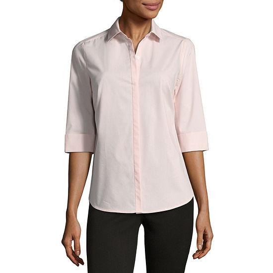 4eab86074f Liz Claiborne 3 4 Sleeve Button Front Shirt JCPenney