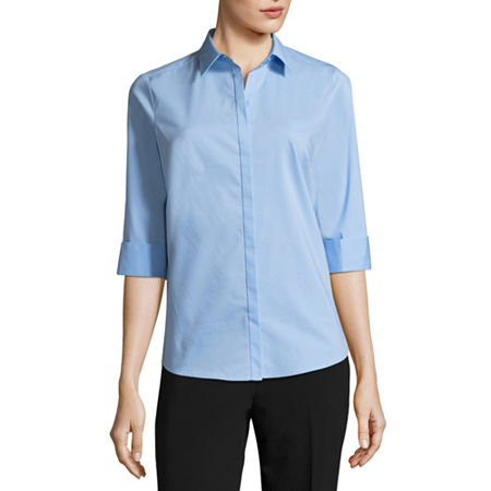 Liz Claiborne 3/4 Sleeve Button Front Shirt, X-small , Blue
