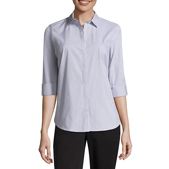 Liz Claiborne 3/4 Sleeve Button Front Shirt
