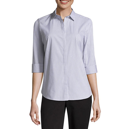Liz Claiborne 3/4 Sleeve Button Front Shirt, X-small , White
