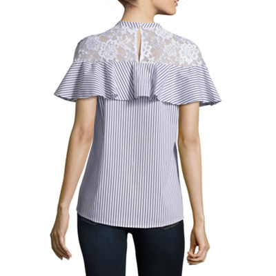 Belle + Sky Ruffle Lace Inset Top