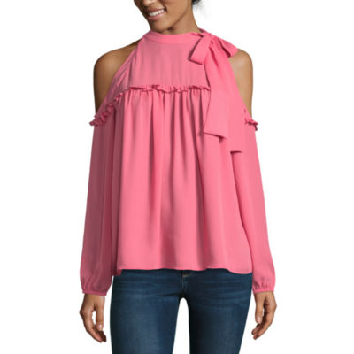 Belle + Sky Cold Shoulder Tie Neck Top