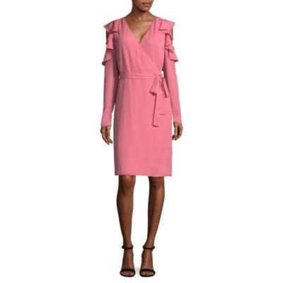 T.D.C Long Sleeve Cold Shoulder Wrap Dress