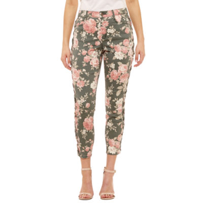 Bold Elements Floral Side Lace Up Ankle Pants