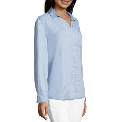 a.n.a Womens Long Sleeve Button-Front Shirt