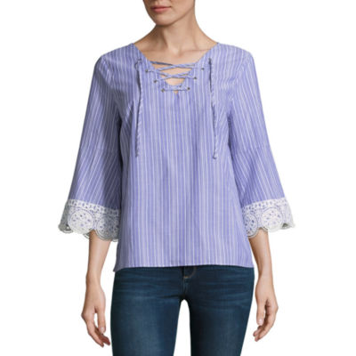 a.n.a 3/4 Sleeve Lace Up Stripe Blouse