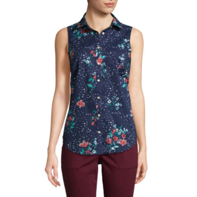 St. John's Bay Relaxed Fit Sleeveless Button-Front Shirt